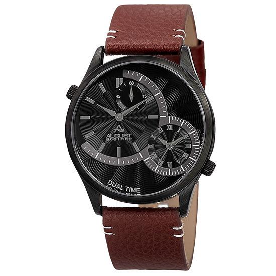 August Steiner Mens Brown Leather Strap Watch-As-8167bkbr