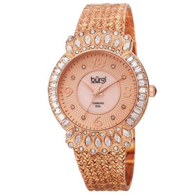Burgi Womens Rose Goldtone Strap Watch-B-120rg