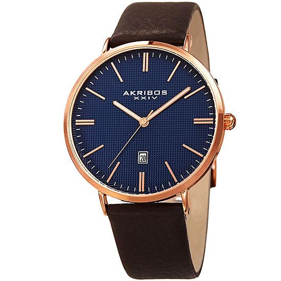 Akribos XXIV Mens Brown Leather Strap Watch-A-935rgbu