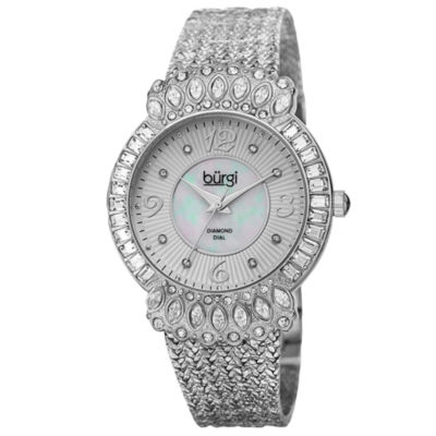 Burgi Womens Silver Tone Bracelet Watch-B-120ss
