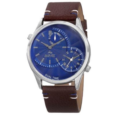 August Steiner Mens Brown Strap Watch-As-8167bu