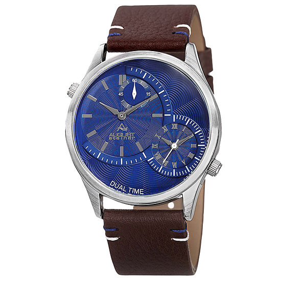 August Steiner Mens Brown Leather Strap Watch-As-8167bu