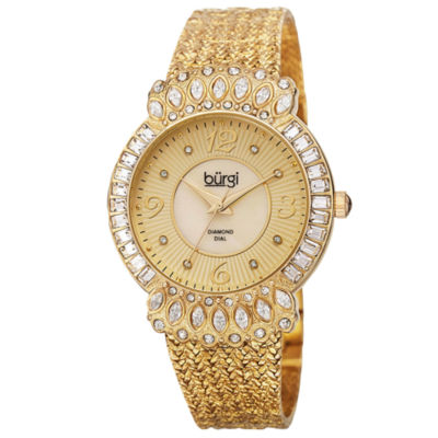 Burgi Womens Gold Tone Strap Watch-B-120yg