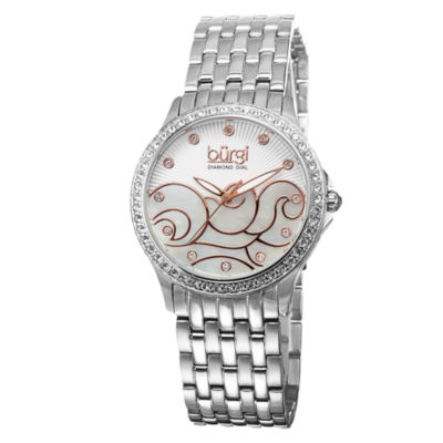 Burgi Womens Silver Tone Strap Watch-B-081ss