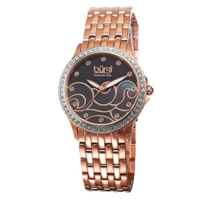 Burgi Womens Rose Goldtone Strap Watch-B-081rg