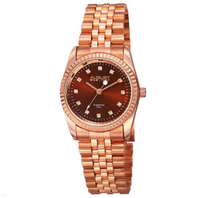 August Steiner Womens Rose Goldtone Strap Watch-As-8170rgbr
