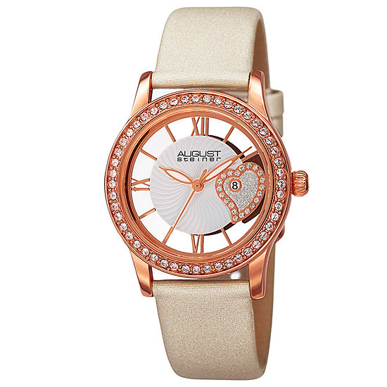 August Steiner Womens White Strap Watch-As-8176wtr