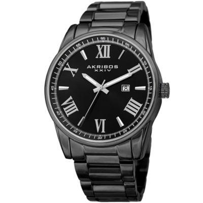 Akribos XXIV Mens Black Strap Watch-A-936bk