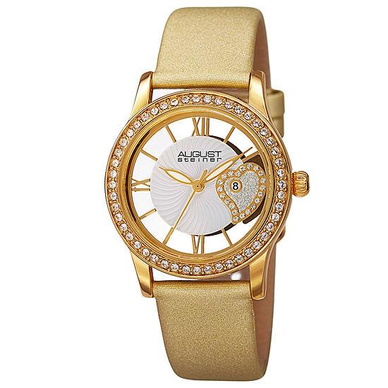 August Steiner Set With Swarovski Crystals Womens Gold Tone Strap Watch-As-8176yg