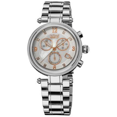 Burgi Womens Silver Tone Strap Watch-B-080ss
