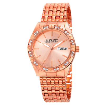 August Steiner Womens Rose Goldtone Strap Watch-As-8177rg