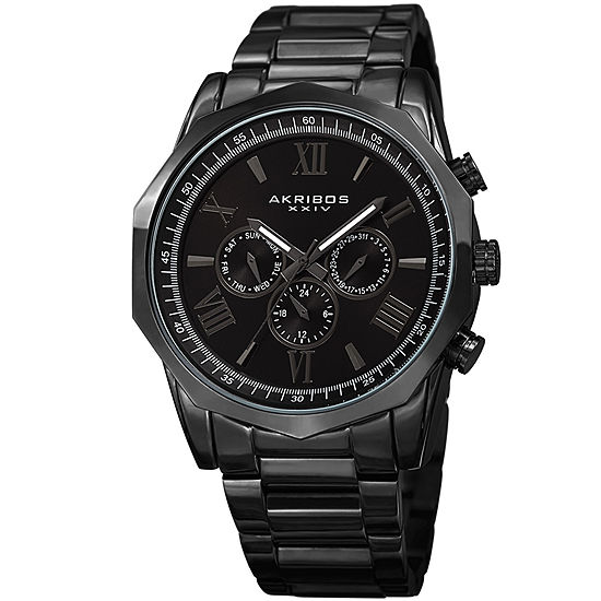 Akribos XXIV Mens Black Stainless Steel Strap Watch-A-940bk