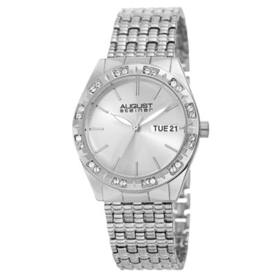 August Steiner Womens Silver Tone Strap Watch-As-8177ss