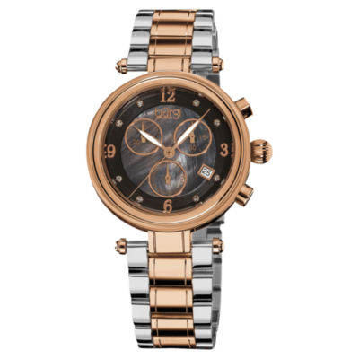 Burgi Womens Two Tone Strap Watch-B-080rg