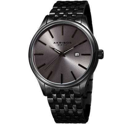 Akribos XXIV Mens Black Strap Watch-A-941gn