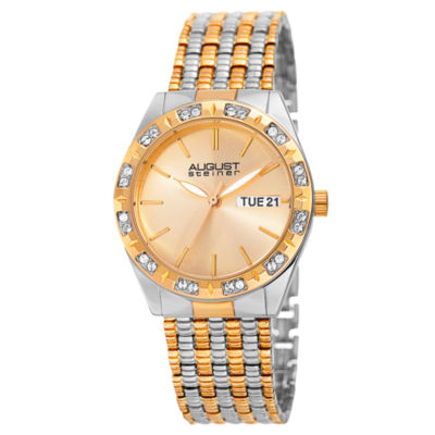 August Steiner Womens Two Tone Strap Watch-As-8177ttg