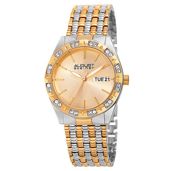 August Steiner Set With Swarovski Crystals Womens Two Tone Strap Watch-As-8177ttg
