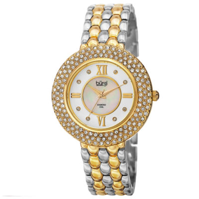 Burgi Womens Two Tone Strap Watch-B-125ttg