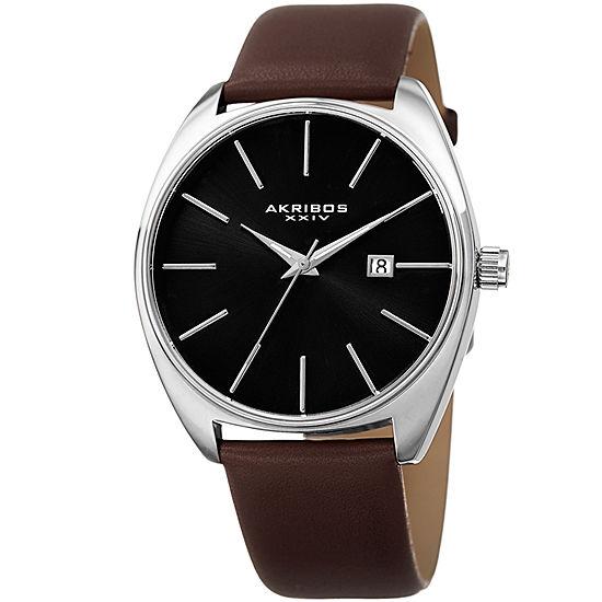 Akribos XXIV Mens Brown Leather Strap Watch-A-945ssbr