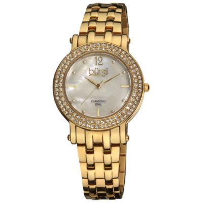 Burgi Womens Gold Tone Strap Watch-B-079yg