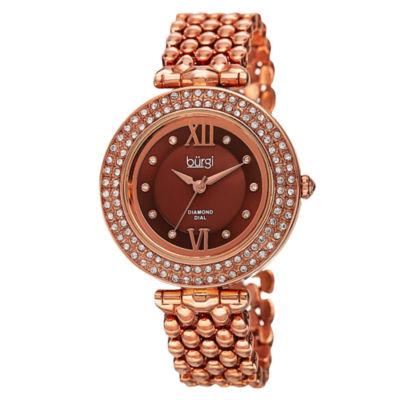 Burgi Womens Rose Goldtone Strap Watch-B-126rg