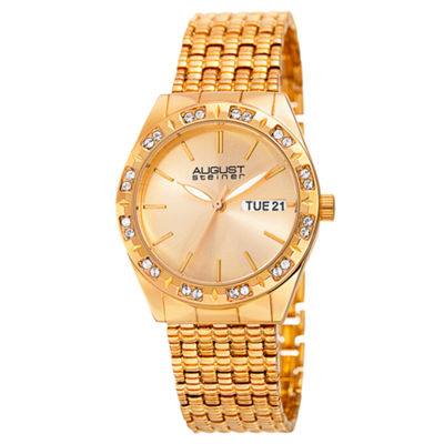 August Steiner Womens Gold Tone Strap Watch-As-8177yg