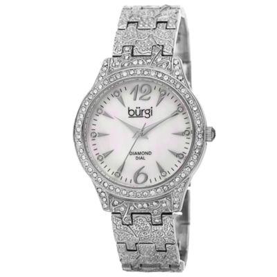 Burgi Womens Silver Tone Strap Watch-B-127ss