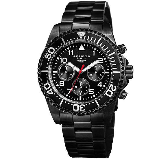 Akribos XXIV Mens Black Stainless Steel Strap Watch-A-950bk
