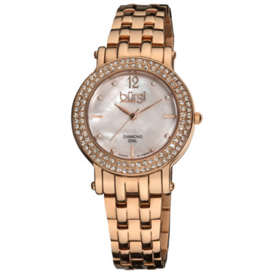 Burgi Womens Rose Goldtone Strap Watch-B-079rg