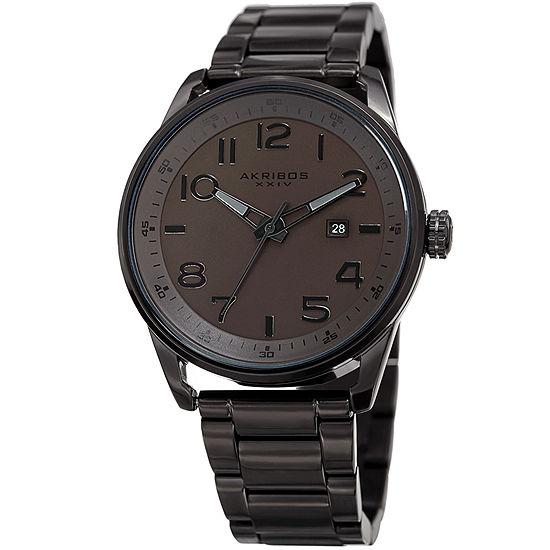 Akribos XXIV Mens Black Stainless Steel Bracelet Watch-A-956br