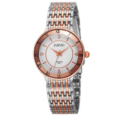 August Steiner Womens Two Tone Strap Watch-As-8178ttr