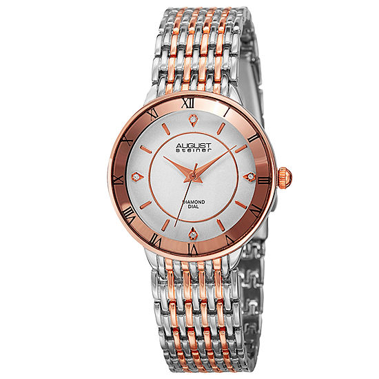 August Steiner Womens Two Tone Strap Watch-As-8178ttr