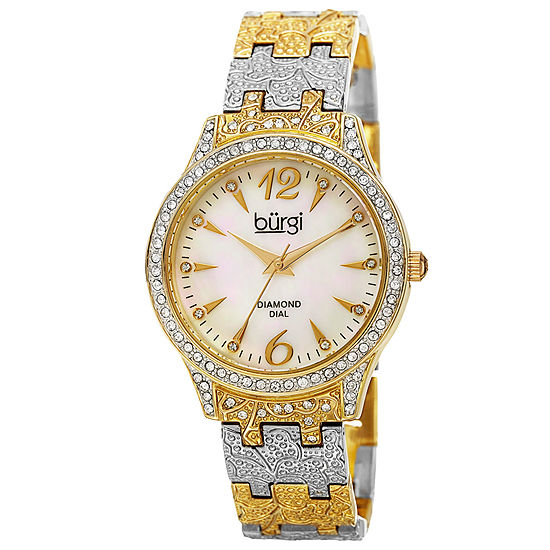 Burgi Womens Two Tone Strap Watch-B-127ttg