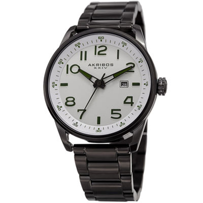 Akribos XXIV Mens Black Strap Watch-A-956ss
