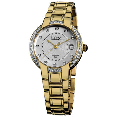 Burgi Womens Gold Tone Strap Watch-B-077yg