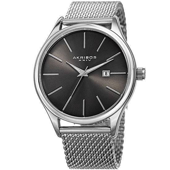 Akribos XXIV Mens Silver Tone Bracelet Watch-A-959ssgn