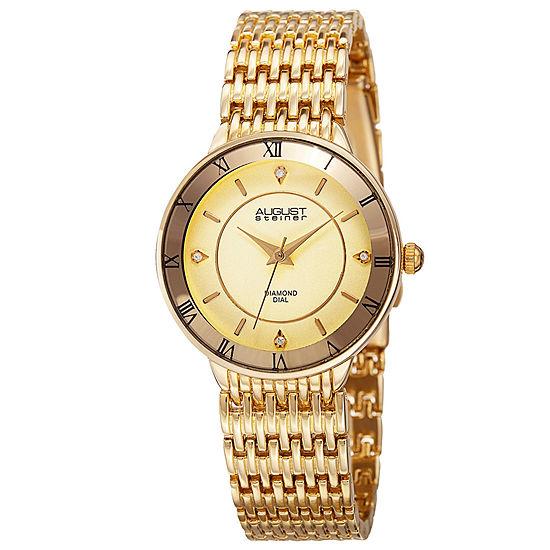August Steiner Womens Gold Tone Strap Watch-As-8178yg