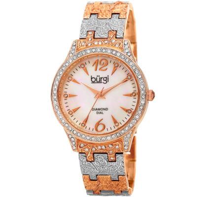 Burgi Womens Two Tone Strap Watch-B-127ttr