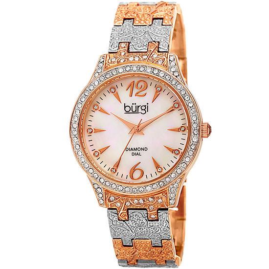 7af1302a8 Burgi Womens Two Tone Strap Watch B 127ttr JCPenney