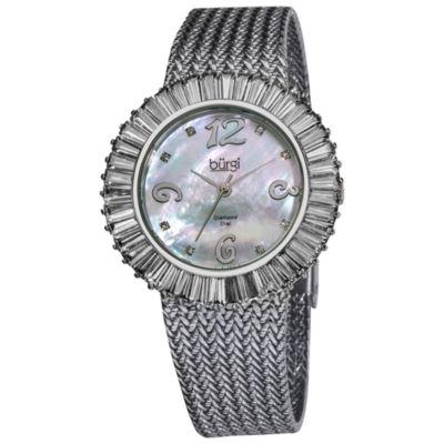 Burgi Womens Silver Tone Strap Watch-B-076wt