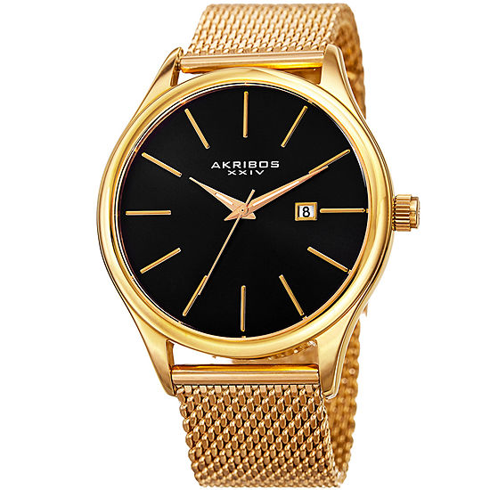 Akribos XXIV Mens Gold Tone Stainless Steel Strap Watch-A-959ygb