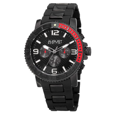 August Steiner Mens Black Strap Watch-As-8179bk