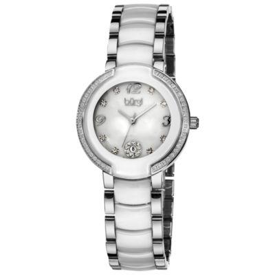 Burgi Womens Silver Tone Strap Watch-B-072wt