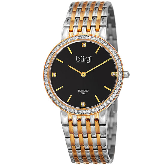Burgi Womens Two Tone Stainless Steel Strap Watch-B-138ttg