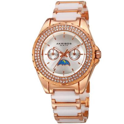 Akribos XXIV Womens Two Tone Strap Watch-A-961rgwt