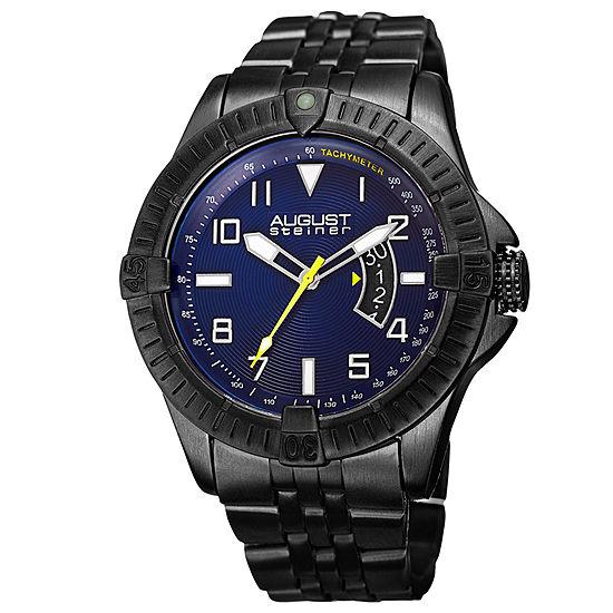 August Steiner Mens Black Strap Watch As 8185bk