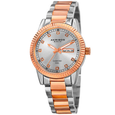 Akribos XXIV Womens Two Tone Strap Watch-A-965ttr