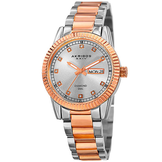 Akribos XXIV Womens Two Tone Stainless Steel Strap Watch-A-965ttr