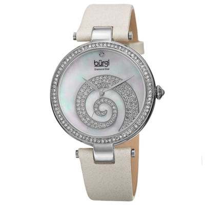 Burgi Womens White Strap Watch-B-143wt