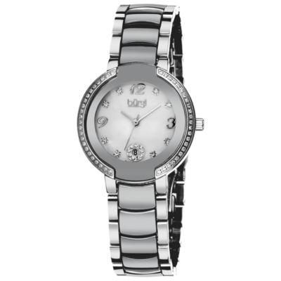 Burgi Womens Silver Tone Strap Watch-B-072sl